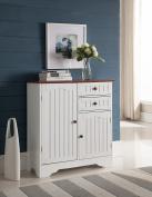 Kings Brand White / Walnut Finish Wood Kitchen Storage Buffet Cabinet