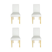 WV LeisureMaster Set of 4 Cream Faux Leather Dining Chairs With Original Solid Wooden Legs and High back For Home & Commercial Restaurants