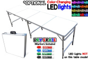 Portable Folding Table w/ Dry Erase Surface - Adjustable Length (2.4m or 1.2m) Adult & Kids Party Table, Tailgate Table, Picnic Table, Camping Table