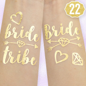 22 Bride Tribe Flash Tattoos - Gold | Bachelorette Party Decorations, Bridesmaid Gift + Bride To Be Favour