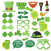 Funny St. Patricks Day Photo Booth Props Kit - Irish Day Party Supplies - St. Patty's Day Party Favours - 28 Pcs