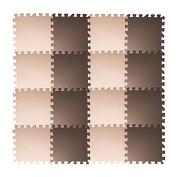 Tebery EVA Foam Puzzle Mat, 16 Tiles (16 tiles = 1.5sqm) Interlocking Floor Tiles with 16 Borders - Beige and Brown