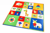 Thick Foam Floor Mats for Kids - Non Toxic EVA Foam Puzzle Play Mat in Storage Bag with Handles - Playmat with Interlocking Tiles - 72x 72Inches x 1.4cm - Multi Colour