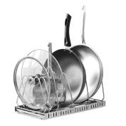 Creatwo Pot Lid Holder Rack Stainless Dish Drying Rack Adjustable Pot Pan Rack Organiser