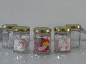 12 x Small Clear Glass Hexagonal Bottles / Jam Jars Party Favours