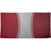 Baseball League White and Red All Over Beach Towel Multi Standard One Size