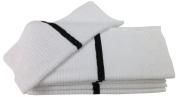 Nouvelle Legende® 36cm X 46cm Ribbed Bar Mop Microfiber Towels (12 Pack) Black Stripe