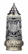 German Beer Stein grey Bavaria Stein, State Coat of Arms in centre panel, flanked by views of Munich and Neuschwanstein Castle, State Motto translated