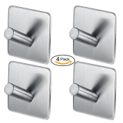 Self Adhesive Hooks, Heavy Duty SUS 304 Stainless Steel Hooks with 3M Adhesive Stick on Wall/ Door for kitchen Bathrooms Bedrooms hanging Tea Towel/ Cup/ Coat/ Clothes etc; waterproof and No Nail by ARPDJK