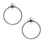 Invero® 2x Pack of Chrome Finish Metal Wall Mounted Bathroom Bath Hand Towel Ring Holder