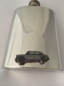 180ml Pewter Hip Flask Plain with a emblem Austin Princess Vanden Plas 1300 ref12