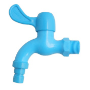 2cm Thread Dia Blue Plastic Water Tap Faucet for Kitchen Bathroom