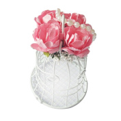 MagiDeal 1pc Metal Birdcage Shape Wedding Candy Sweets Favour Gift Box Decor White Pink
