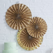 Ginger Ray Kraft & Gold Foiled Fan Pinwheel Handing Party Or Wedding Decorations X 3 - Pick And Mix