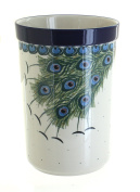 Polish Pottery Peacock Feather Utensil Jar