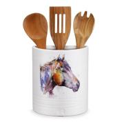 Horse Utensil Holder with Wood Utensils