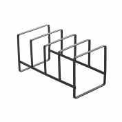Huayoung 4-compartment Black Metal Vertical Plate Holder Cutting Board Rack Kitchen Dish Plate Storage Organiser