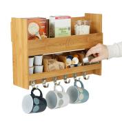 Mind Reader BCSHELF-BRN Wall Mount Coffee Mug Rack Condiment Kitchen Storage Organisation, Brown