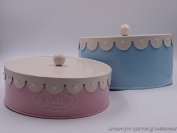 Retro look set of 2 cake storage tins ,shabby chic , baby pink and baby blue in colour