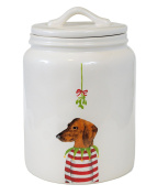RARE Rae Dunn by Magenta Christmas Dachschund in Striped Sweater under Mistletoe Cookie Jar Canister.