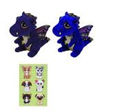 Ty Saffire Blue Dragon Beanie Boos Plush Stuffed Animal 23cm and 15cm Set