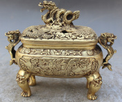 COLLECTIBLE Chinese Bronze Dragon Carved Incense Burner w/ XuanDe Emperor Ming Dynasty Mark