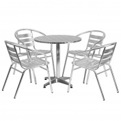 Flash Furniture 70cm Round Aluminium Indoor-Outdoor Table Set with 4 Slat Back Chairs