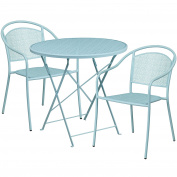 Flash Furniture 80cm Round Sky Blue Indoor-Outdoor Steel Folding Patio Table Set with 2 Round Back Chairs
