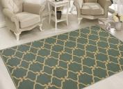 Sweet Home Stores Clifton Collection Moroccan Trellis Design Felt Area Rug, Teal