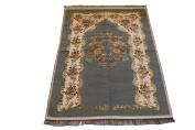 Luxury Coloured Velvet Printed on Chenille Islamic Prayer Rug Janamaz Sajjadah Muslim Turkish Prayer Rug