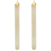 Ksperway 20cm Set of 2 Ivory Unscented Wax Flameless Taper Candles, Battery Operated,Moving Wick,LED Candle Set with Timer and Remote