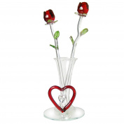 Forever Glass Rose Flowers for Valentines Day Decorations Gifts In Glass Vase With Red Heart And Hanging Crystal Heart Shaped Charm On Mirrored Base I Love You Forever For Girlfriend Mother