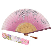 "OMyTea ""Sakura Love"" Chinese / Japanese Folding Hand Held Fan for Women - With a Fabric Sleeve for Protection - for Wedding, Dancing, Church, Party, Gifts"