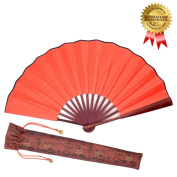 Folding Hand Held Fan for Men / Women - OMyTea Simplicity Chinese Japanese Oriental Asian Style - for Wedding, Dancing, Church, Party, Gifts