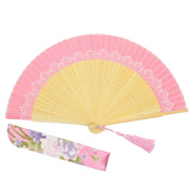"OMyTea ""Lace Pattern"" 8.27""(21cm) Women Hand Held Folding Fans with Bamboo Frame - With a Fabric Sleeve for Protection for Gifts - Chinese / Japanese Vintage Retro Style"