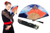 "OMyTea ""Volcano Fuji"" Folding Hand Held Fan for Women - With a Fabric Sleeve for Protection - Chinese / Japanese Vintage Retro Style for Wedding, Dancing, Church, Party, Gifts"