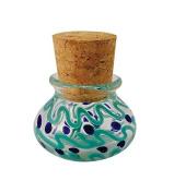 Multicoloured Glass Jar w/ Squiggles & Dots - Includes Cork - 6.4cm