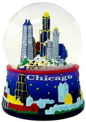 Chicago Snow Globe - 65MM Blue, Chicago Snow Globes, Chicago Souvenirs