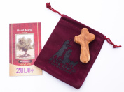 Olive Wood Small Holding Cross comes with Velvet Bag & Certificate 6cm - CRS117 Zuluf