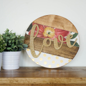 Wood Creations - Cursive MDF Love Word on Slat Circle - Unfinished Craft Wood - Home Decor - DIY - Craft Project - Wall Sign