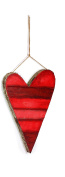 Rustic Red Striped Heart Valentines Day Decorations - Hanging Ornaments - 3 Sizes
