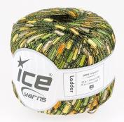 LADDER YARN by Ice Yarns No 34031 Green/yellow/camel mix.+ Free Scarf Pattern