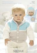 Sirdar Baby Cardigan & Hat Knitting Pattern 1921 DK