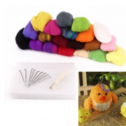 DAYNECETY Fibre Wool Roving Weaving Knit Set Tool Bumper Yarn Crochet Hand Needle Knitting Spinning Yarn Felting Handle Kids Doll Toy Making DIY Art Craft 16 Colours