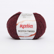 Katia Scotch Tweed Aran colour 74 Bordeaux 60% Wool 20% Viscose 20% Polyamide 50g ball, 95 metres on using 4.5 - 5mm Needles or 5mm crochet hook
