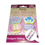 12Pc Cupcake Cake Decorating Topper Stencils Party Buns Design Tools