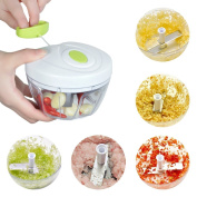Mini Chopper Manual Food Processor Hand Chopper Manual Food-Processor - Pull String to Slice Vegetables, Onions, Garlic, Nuts in Seconds - 2 Stainless Steel Removable Blades, Non-Slip Base, BPA-Free, Dishwasher-safe.