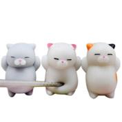 Cute Cat Squishy, Deloito 3Pcs/4Pcs Mochi Squishy Cat Cream Scented Squeeze Healing Fun Kids Kawaii Toy Stress Reliever Gift for Adults Kids