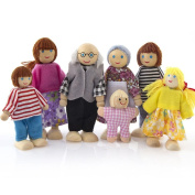 huichang 7 People Set Doll Toy Wooden Furniture Dolls House Family Miniature Toy For Kid Child