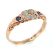 9ct Rose Gold Ladies Opal & Sapphire Vintage Style Eternity Ring- Size U 1/2